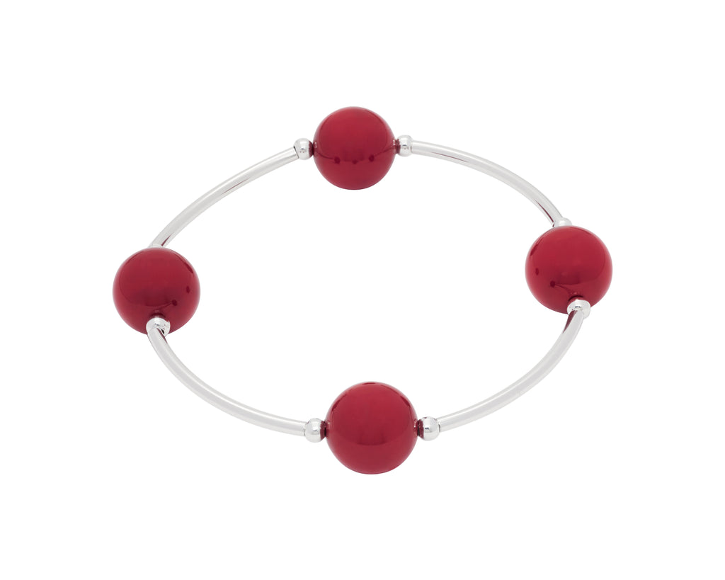 Blessing Bracelet RED CORAL Swarovski Pearl  12mm