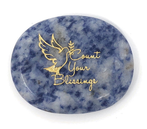 Count Your Blessings Blue Quartz Healing Stone, Worry Stone, Pocket Stone, Feel Good Stone