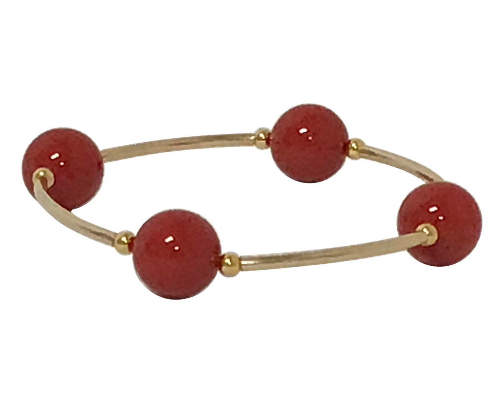 Blessing Bracelet GOLD 14/20 GF & RED CORAL Swarovski Pearl 4 Bead 12mm