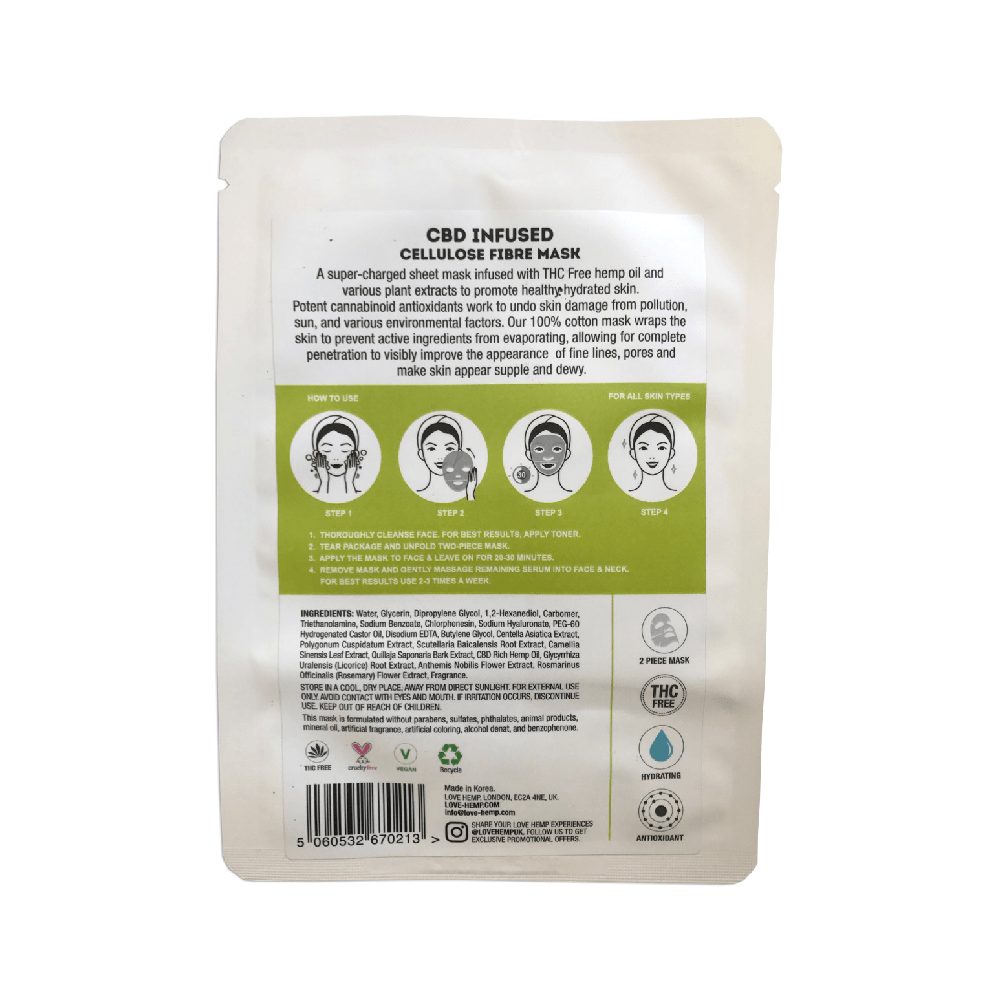 Love Hemp® CBD Infused Cellulose Fibre Mask - 10mg