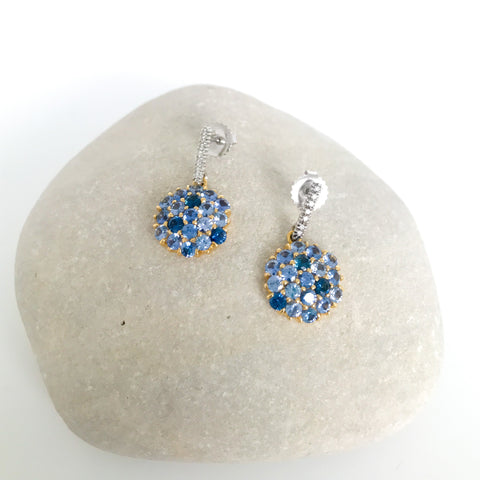 Blue Sapphire Mosaic Drop Earrings