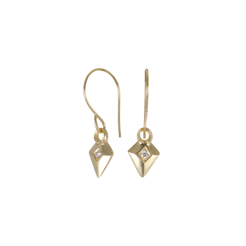 Gold and Diamond Deco Arrow Earrings by Corey Egan