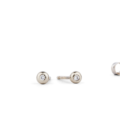 White Gold Diamond Droplet Studs by Corey Egan