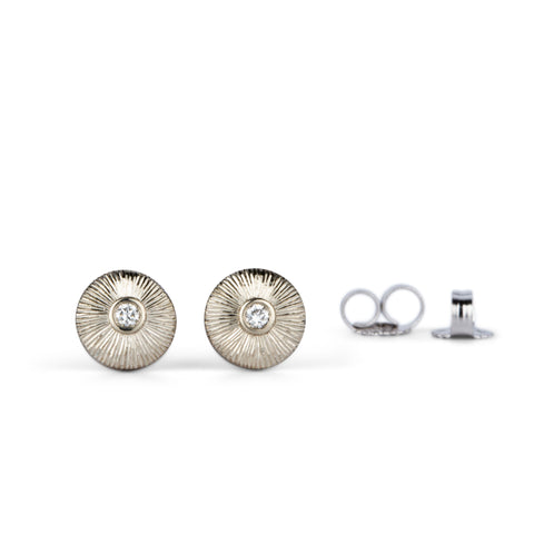 White Gold and Diamond Nimbus Studs by Corey Egan