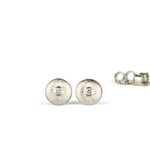 Silver and Diamond Aurora Stud Earrings by Corey Egan