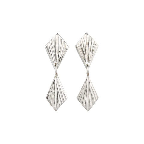 Double Flame Silver Dangle Earrings | Corey Egan