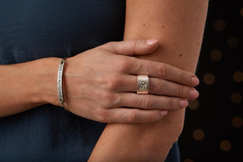 Nova Bracelet and Beacon Band in Silver and Diamond by Corey Egan