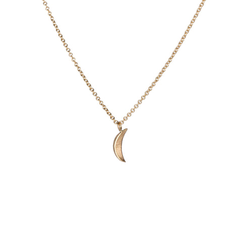 Yellow Gold Micro Wisp Moon Necklace by Corey Egan