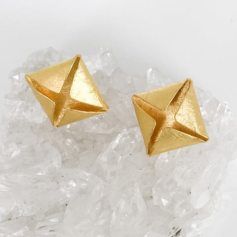 Folded Gold Stud Earrings