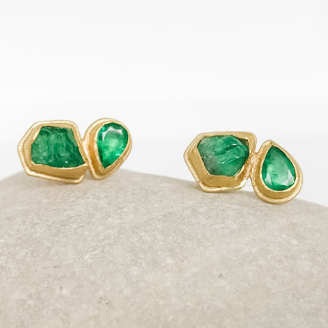 Raw and Faceted Emerald Earrings
