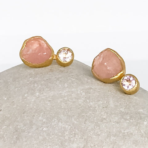 Raw and Faceted Morganite Earrings