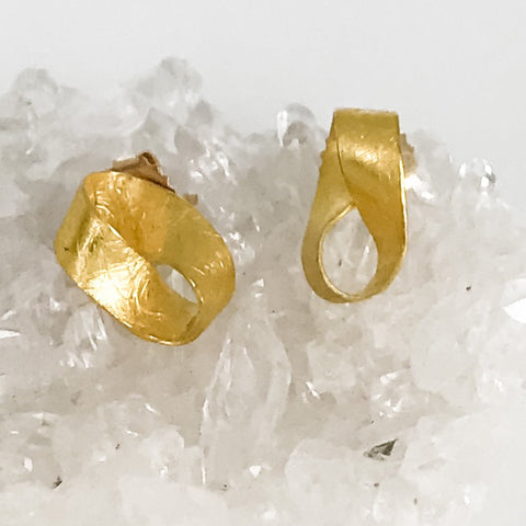 Tiny 22k Yellow Gold Mobius Earrings