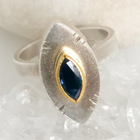 Sapphire Hollow Form Ring