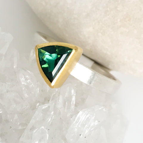 Green Tourmaline Triangle Ring