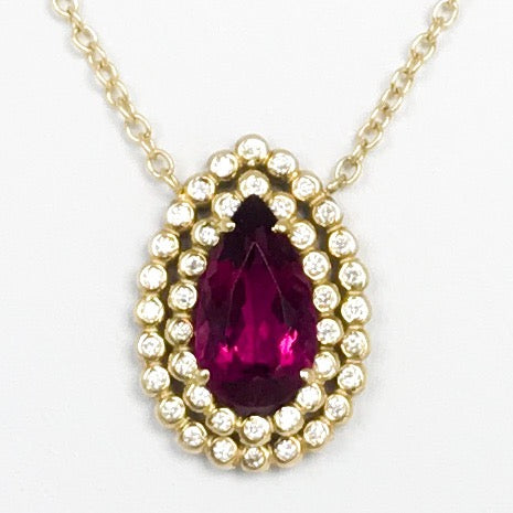 Rubellite Tourmaline and Diamond Pendant