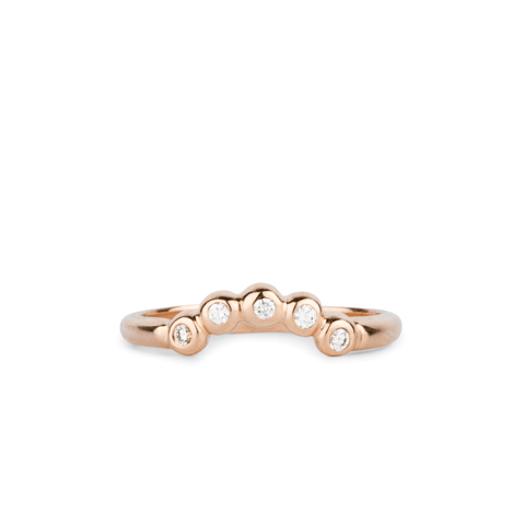 Arched Droplet Band in Rose Gold with White Diamonds by Corey Egan