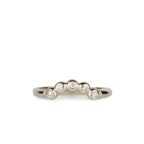 Arched Droplet Band in White Gold with White Diamonds by Corey Egan