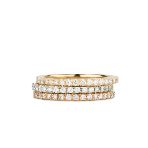 Bryce White Diamond Prong Set Half Eternity Bands in Yellow, White and Rose Gold by Corey Egan