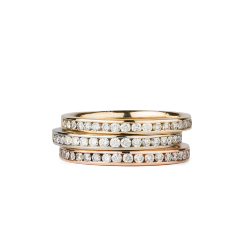 Moraine White Diamond Channel Set Half Eternity Bands in Yellow, White and Rose Gold by Corey Egan