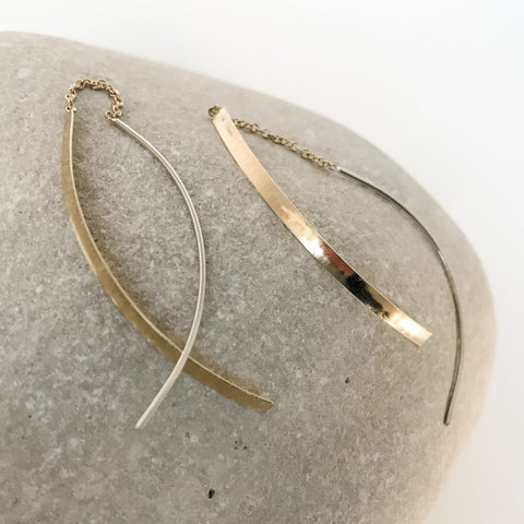 18k Hammered Gold and Silver Threads Long