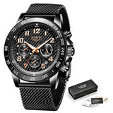 LIGE 2020 New Arrival Men Watches Top Luxury Brand Sport Watch Men Chronograph Quartz Wristwatch Date Male Relogio Masculino+Box