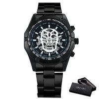 WINNER Official Automatic GOLD Watch Men Steel Strap Skeleton Mechanical Skull Watches Top Brand Luxury Dropshipping Wholesale