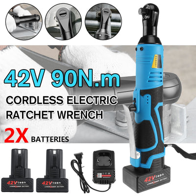 "E-Wrench - 3/8"" Cordless Electric Right Angle Wrench Tool with 1/2 Battery Charger Kit"