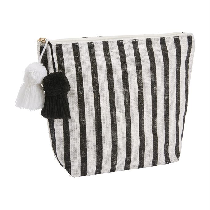 Jute Case Black & White Stripe