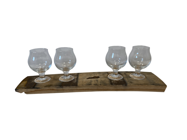 Bourbon Flight Board with Four Snifter Glasses