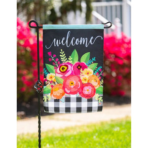 Floral Welcome Check Garden Flag