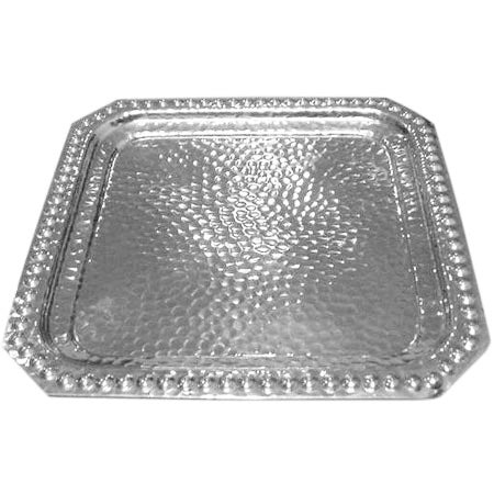 Beaded Hammered Square Tray