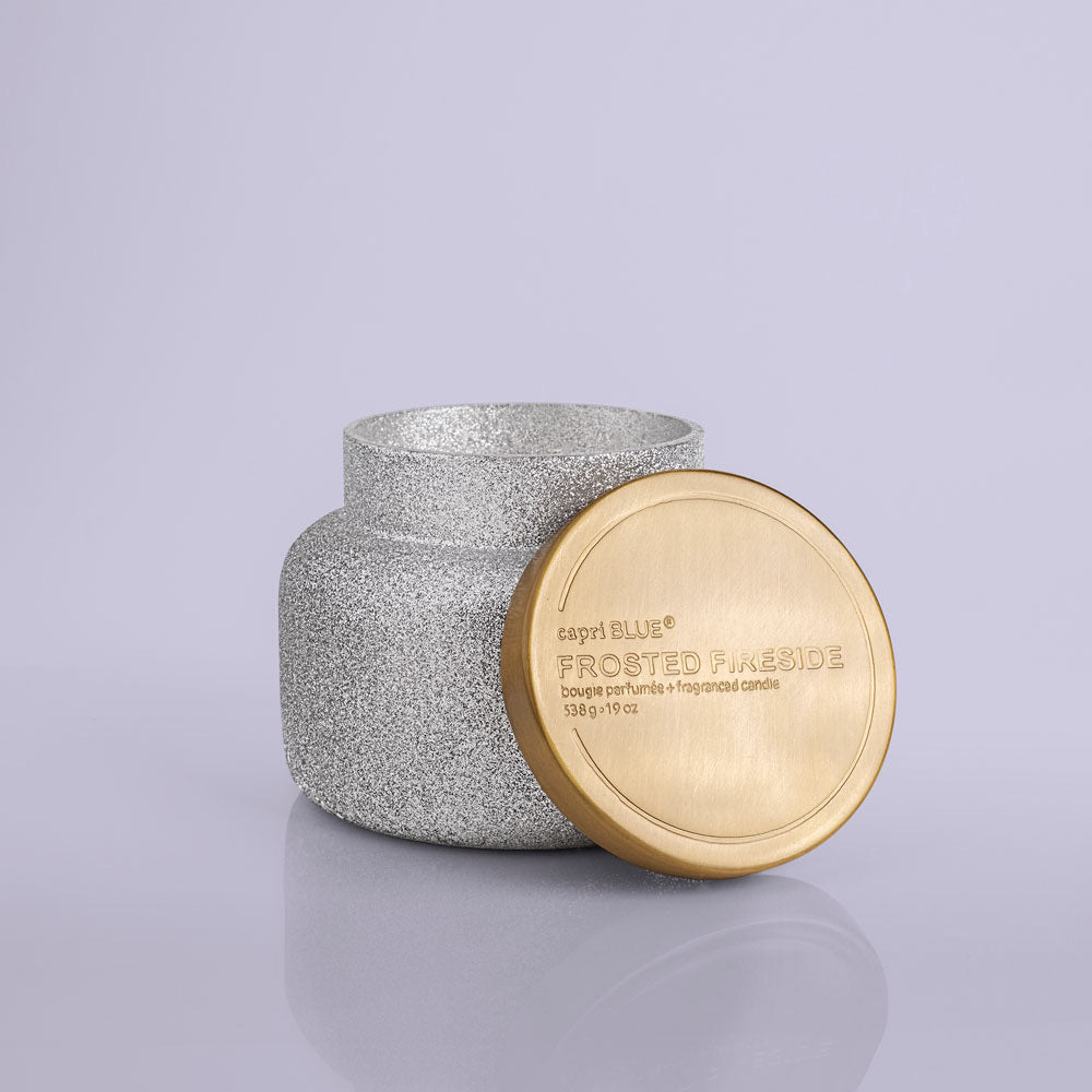 19 oz Frosted Fireside Glitter Candle