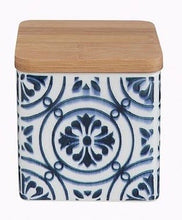 Load image into Gallery viewer, Stoneware Canister with Bamboo Lid