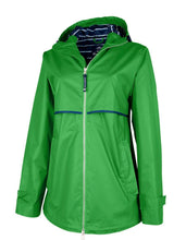 Load image into Gallery viewer, Kelly Green/Stripe Rain Jacket