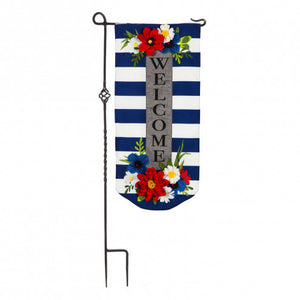 Floral Stripe Welcome Flag