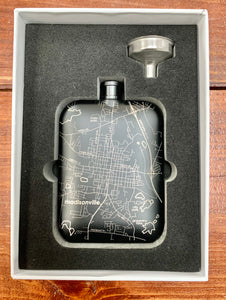 Hometown Map Pocket Flask