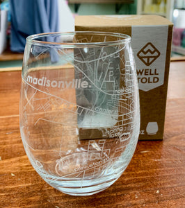 Hometown Map Stemless Wine Glass