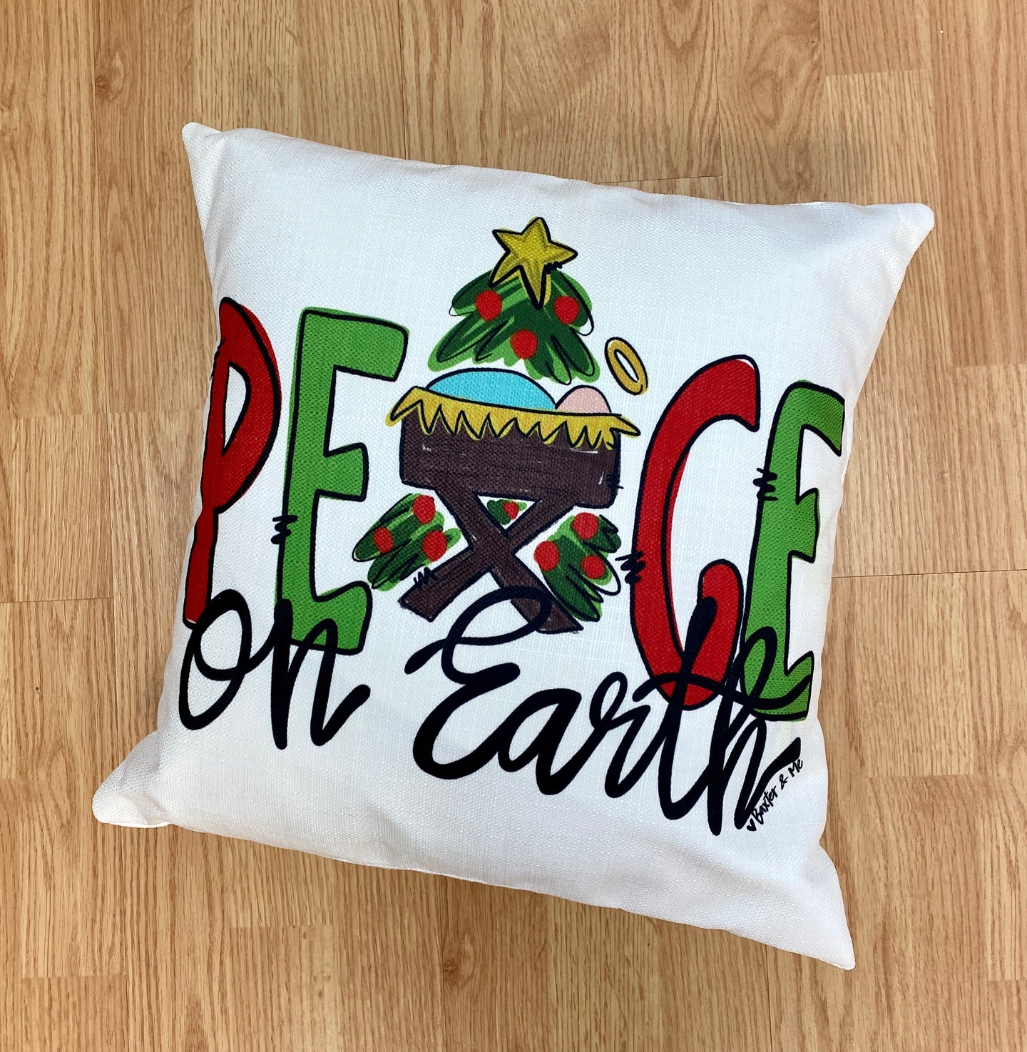 Peace on Earth Nativity Pillow