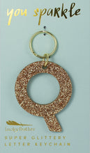 Load image into Gallery viewer, Initial Glitter Keychain