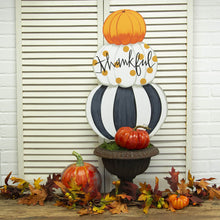 Load image into Gallery viewer, Two-Sided Pumpkin & Snowman Topiary