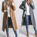 Fashion Autumn Winter Women Wool Coat 2017 Casual Turn Down Collar Pockets Long Trench Coats Plus Size Outerwear Overcoat