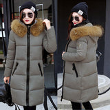 2017 New Fashion Winter Korean Style Women Thickening Down Jacket Long Coat Parkas Female Warm Clothes Racoon Fur Hooded Outwear
