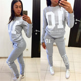 2017 Autumn Winter Fashion 2 Piece Set Tracksuit For Women Pant And Sweatsuits 10 Printed Gray Tracksuit Plus Size Clothing