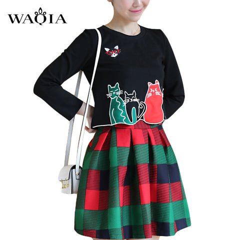 2017 Spring Autumn New Women's Set Cat Printed Tops and Plaid Skirt 2 Pieces Set for Women Female Embroidery Suits