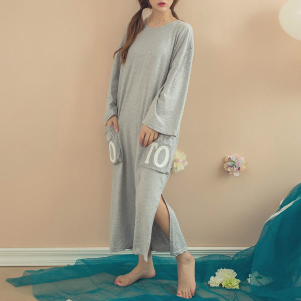 Women Ladies Autumn Nightdress 2017 Letter Printed Long Sleeve Casual Nightgowns Split Loose Mid-calf Cotton Sleepwear