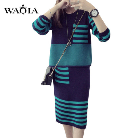 New 2017 Winter 2 Pieces Sweater Dress Set Women Long Sleeve Office Wear Casual Striped Pullover Knitted Dresses Clothing Suit