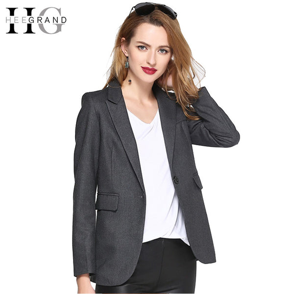 HEE GRAND 2017 Fashion OL Women Blazer Lapel Outwears Pockets Spring Autumn Notched Long Sleeve Jacket  Pockets Casual