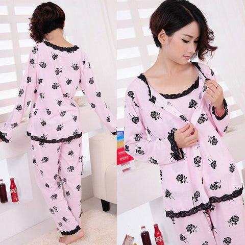 2017 Spring Autumn Women Pajamas Set Nightwear 3 Pieces Plus Size M-XL Long Sleeve Floral Print Home Suit Sleepwears Nightgowns