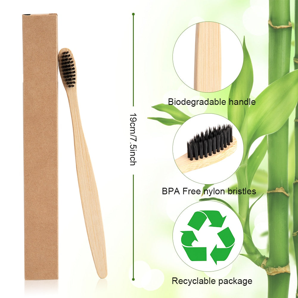 10 Eco-Friendly Bamboo Soft Fibre Toothbrush