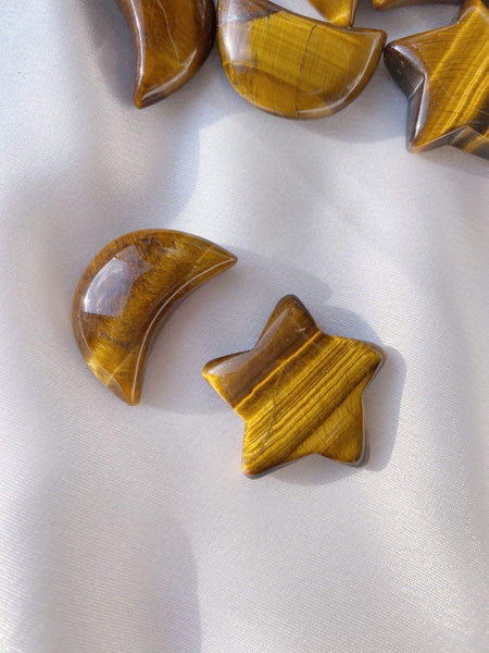Golden Tiger Eye Star and Moon - Caring Crystals